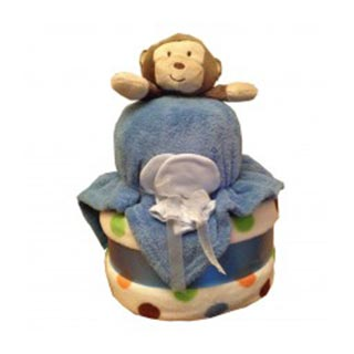 2 Tier Boys Nappy Cake image