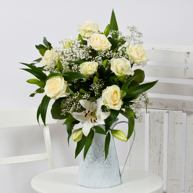 Rose & Liliy Flower Bouquet (White) image