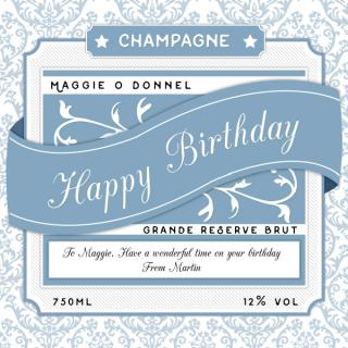 Personalised Champagne Birthday Ribbon image