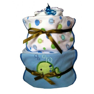 2 Tier Nappy Cake - Baby Boy image