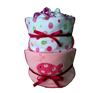 2 Tier Nappy Cake - Baby Girl