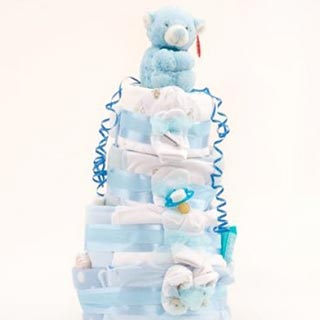 4 Tier Deluxe Blue Nappy Cake image