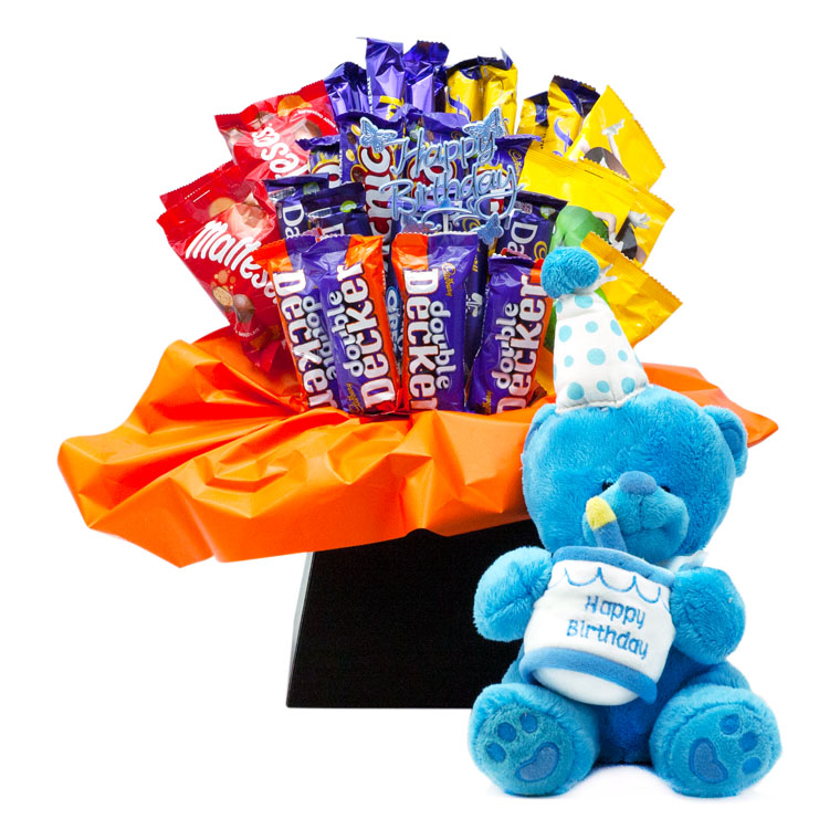 Blue Happy Birthday Teddy with Chocolate Bouquet image