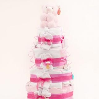 4 Tier Deluxe Pink Nappy Cake image