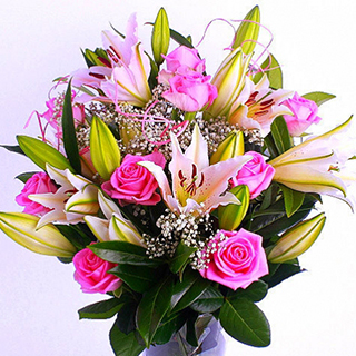 Rose & Liliy Bouquet (Pink) image