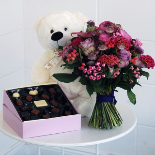 Pink Wink Bouquet with Teddy and Chocolates image