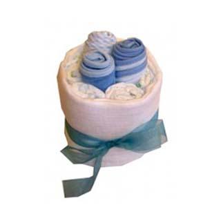Baby Bib Blue Nappy Cake image