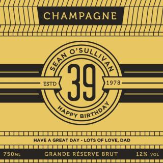 Personalised Champagne Black and Gold image