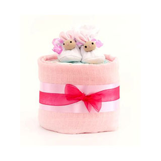 1 Tier Girl Nappy Cake image