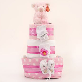 3 Tier Nappy Cake - Baby Girl image