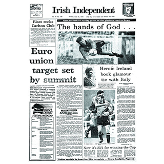 Framed Front Page - Italia 90 (Ireland vs Romania)