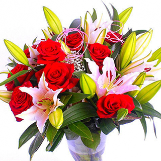 Roses & Lilies Bouquet (Red) image
