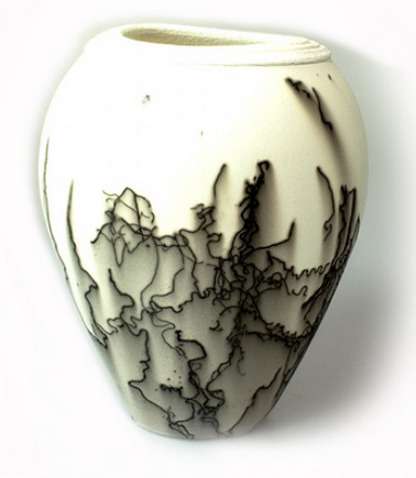 Horse Hair Ceramic Vessel