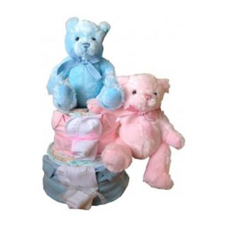 2 Tier Twins Nappy Cake image