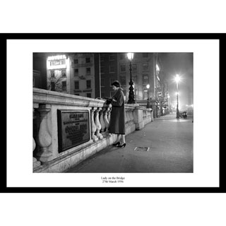 Lady on Bridge, 1956 - Framed Press Photo