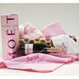 Personalised Baby Hamper with Moet Rose –Baby Girl image
