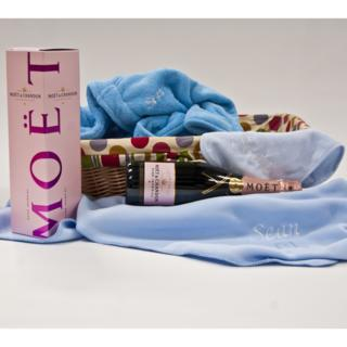 Personalised Baby Hamper with Moet Rose – Baby Boy image