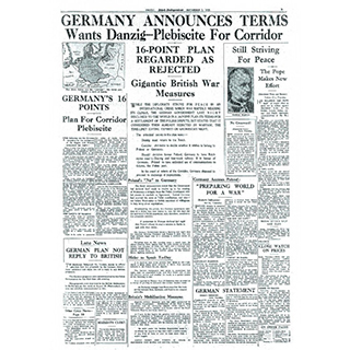 Framed Front Page - World War II