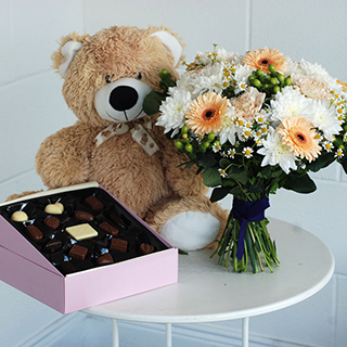 Honey Bee Bouquet, Teddy and Chocolates image