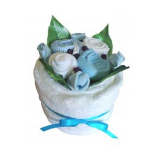 Blooming Towel Cake - Blue image
