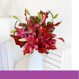 Christmas Lily Berry Flower Bouquet image