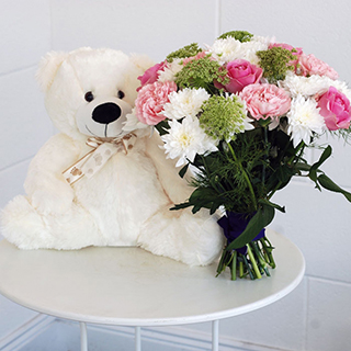 Pretty Bouquet & Teddy Gift image