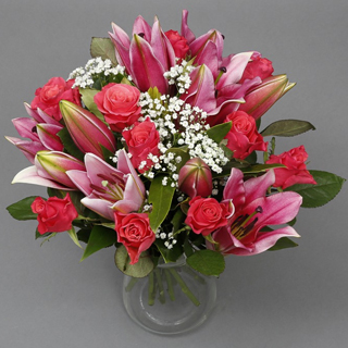 Pink Rose & Lily Bouquet image