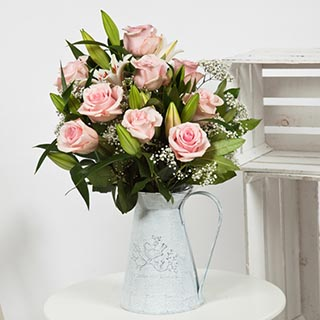 Rose & Liliy Flower Bouquet (Pink) image