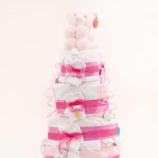 3 Tier Pink Nappy Cake image